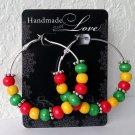 """RASTA VIBRATIONS JAMAICAN 2"""" Silver Wood Bead Hoop Earrings Handmade"""