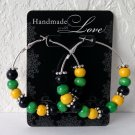 "JAMAICA FI REAL 2"" Silver Green, Black & Gold Wood Bead Hoop Earrings Handmade"