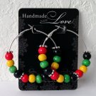 "RASTA JAMAICAN 2"" Silver Wood Bead Hoop Earrings Handmade"
