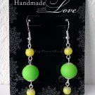 Neon Green & Yellow Dangle Earrings Handmade