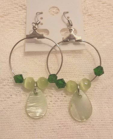 Brand New handcrafted earrings hoops with coordinated green beads and findings - FREE SHIPPING