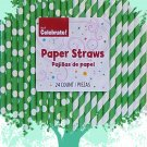 Pack of 24 Green and White Polka Dot and Stripe Straws - FREE SHIPPING