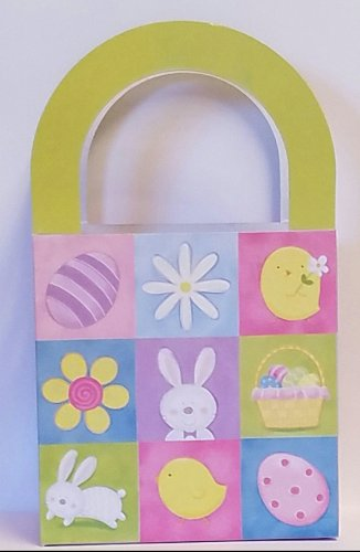Easter Packaging - 6 paper handled bags - Easter Squares Pattern- FREE SHIPPING