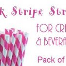 25 paper straws - pink and white stripes
