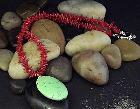 Coral and lime turquoise pendant