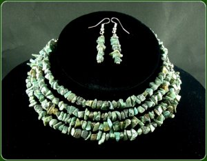 African turquoise necklace and earrings