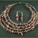 Rodhonite Necklace and Earrings