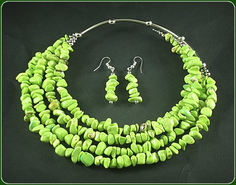 Green lime turquoise Necklace and Earrings