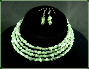 Light green necklace and earrings