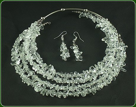 Quartz crystals necklace and earrings