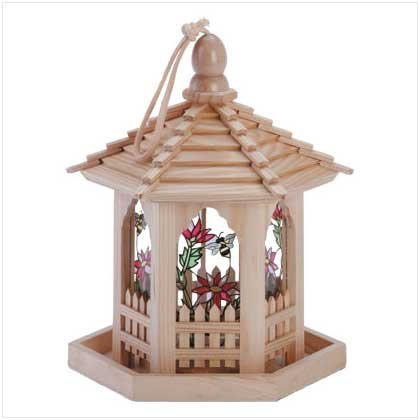 Wood Glass Panel Gazebo Feeder