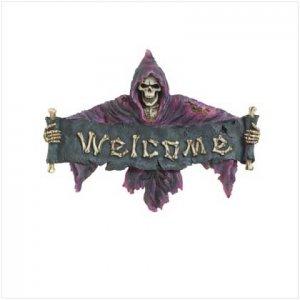 Purple Grim Reaper Welcome Plaque