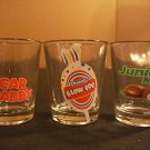 NEW! Lot of 3 Shot Glasses Candy Theme Sugar Daddy Junior Mints Charms Blow Pop