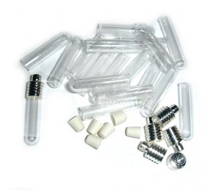 10 lot GLASS TUBE VIALS CAPS PLUGS...FILL YOUR OWN~SILVER