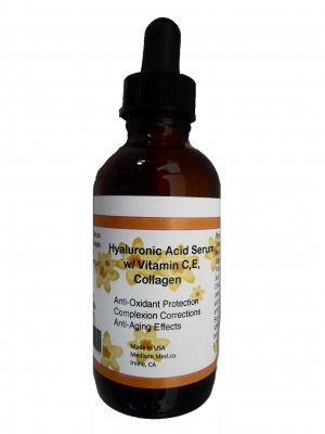 100% Pure Hyaluronic Acid Serum w/ Vitamin C+E+Collagen Antioxidant,Anti-Aging 2oz