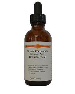 Vitamin C (L-Ascorbic Acid) 20% with Pure Hyaluronic Acid Anti Aging Serum 2oz