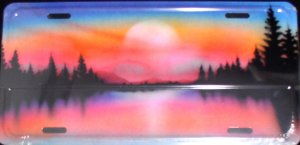 AIR BRUSHED TREES AND SUNSET SUNRISE ON LAKE SCENE LICENSE PLATES