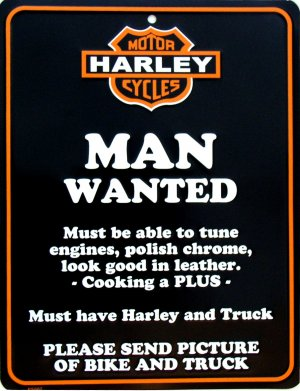 HARLEY MAN WANTED PARKING SIGNS