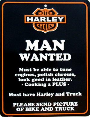 HARLEY MAN WANTED PARKING SIGNS