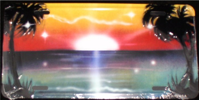 AIR BRUSHED OCEAN SUNSET SUNRISE SCENE LICENSE PLATES