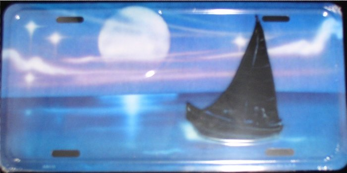 AIR BRUSHED SAILBOAT WITH FULL MOON AND STARS LICENSE PLATES