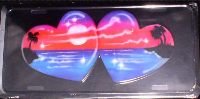 AIR BRUSHED TWO HEARTS OCEAN AND PALM TREES LICENSE PLATES