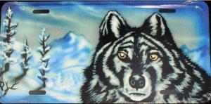 WOLF IN WINTER SCENE LICENSE PLATES