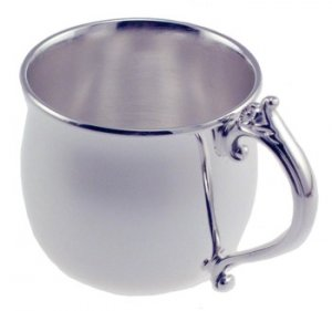 Silver Plated Pot-Bellied Baby Cup with Floral Handle