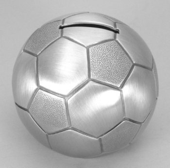 Pewter Finish Soccer Ball Bank