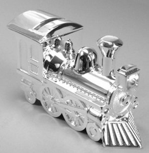 Silver Plated Train Bank