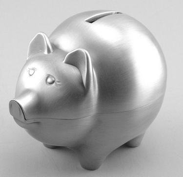 Classic Pewter Finish Piggy Bank