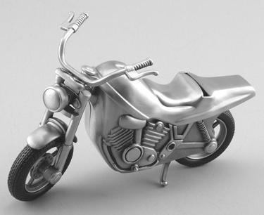 Pewter Finish Motorcycle Bank