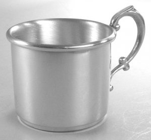 Scroll Handle Pewter Baby Cup