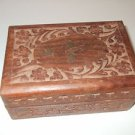 Vintage Antique Jewelry Box case container wood carved
