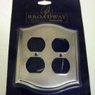 Broadway Collection Metal Duplex Outlet Cover Decorative Trim Plate