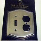 Broadway Collection Metal Duplex Outlet + 1 Light Switch Cover Decorative Trim