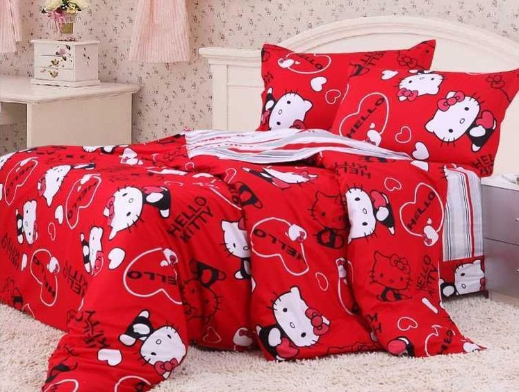 covers bed in a bag 5pc lucky red hello kitty bed linens bed sets