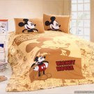 Twin Duvet Covers Comforter Sets 4Pc Cute Lt Brown Mickey Mouse Bed Linens Bed Sets