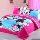 Twin Duvet Covers Comforter Sets 4Pc Cute Pink Blue Mickey Minnie Mouse Bed Linens Bed Sets