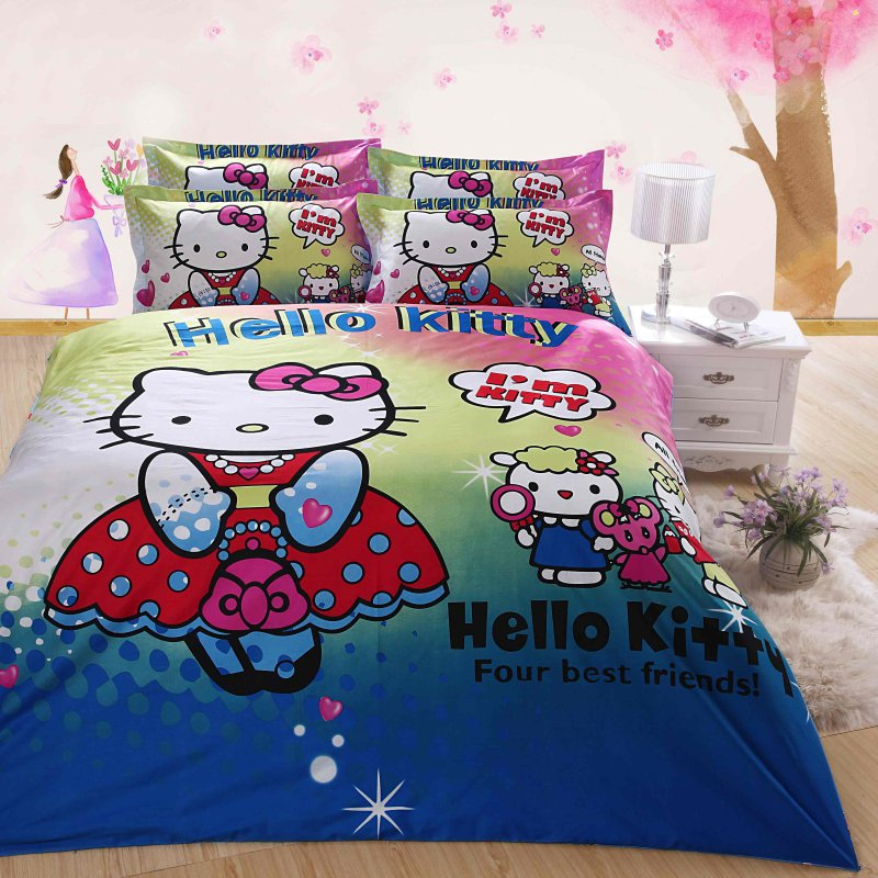 queen duvet covers bed in a bag 5pc pink blue white hello ki