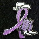 Rett Syndrome Lavender Glitter Ribbon Cowgirl Cowboy Western Boots Hat Pin New