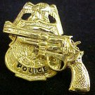 Police Shield Badge Revolver Tie Tac Tack Police Officer Professional Gold Plate