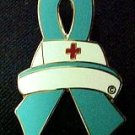 Ovarian Cancer Nurse Cap Red Cross Teal Ribbon Pin New