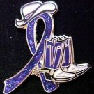 Fibromyalgia Support Purple Glitter Ribbon Cowgirl Cowboy Western Boots Hat Pin