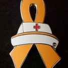 MS Multiple Sclerosis Awareness Nursing Nurse Cap Red Cross Orange Ribbon Pin