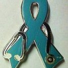 Ovarian Cancer Support Dr Stethoscope Teal Ribbon Pin