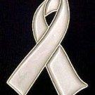 Mesothelioma Awareness Pearl Ribbon Pearlized Pin New