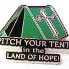 Spiritual Awareness Faith Hope Cross Green Pitch Tent Land of Hope Inspire Pin