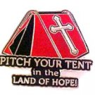 Spiritual Awareness Faith Hope Cross Red Pitch Tent Land of Hope Inspire Pin New