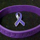 Purple Ribbon Pin Silicone Bracelet Set Pancreatic Cancer Awareness Month New